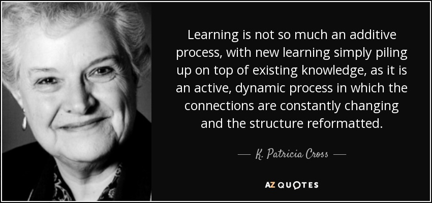 Learning is not so much an additive process, with new learning simply piling up on top of existing knowledge, as it is an active, dynamic process in which the connections are constantly changing and the structure reformatted. - K. Patricia Cross