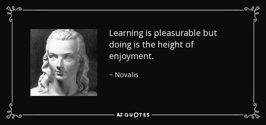 Learning is pleasurable but doing is the height of enjoyment. - Novalis