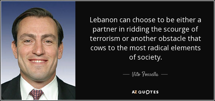 Lebanon can choose to be either a partner in ridding the scourge of terrorism or another obstacle that cows to the most radical elements of society. - Vito Fossella