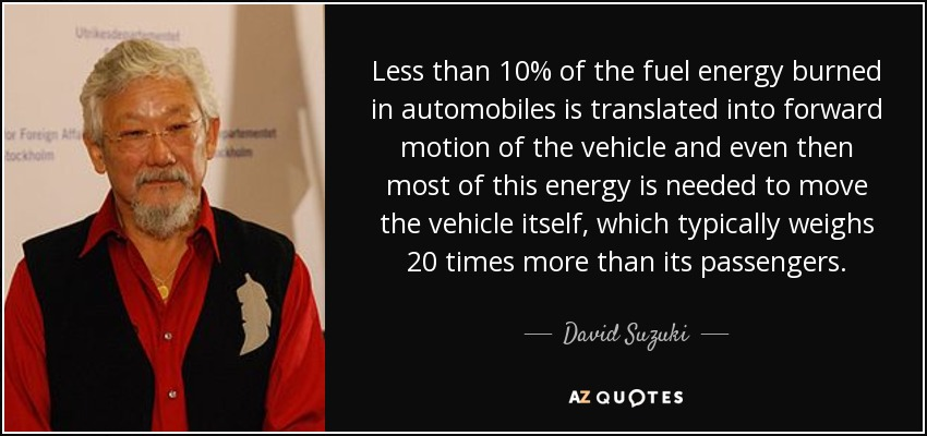 Less than 10% of the fuel energy burned in automobiles is translated into forward motion of the vehicle and even then most of this energy is needed to move the vehicle itself, which typically weighs 20 times more than its passengers. - David Suzuki