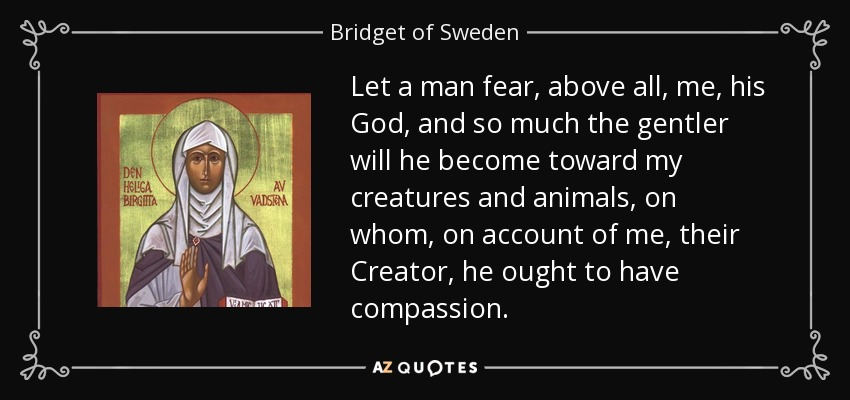 Let a man fear, above all, me, his God, and so much the gentler will he become toward my creatures and animals, on whom, on account of me, their Creator, he ought to have compassion. - Bridget of Sweden