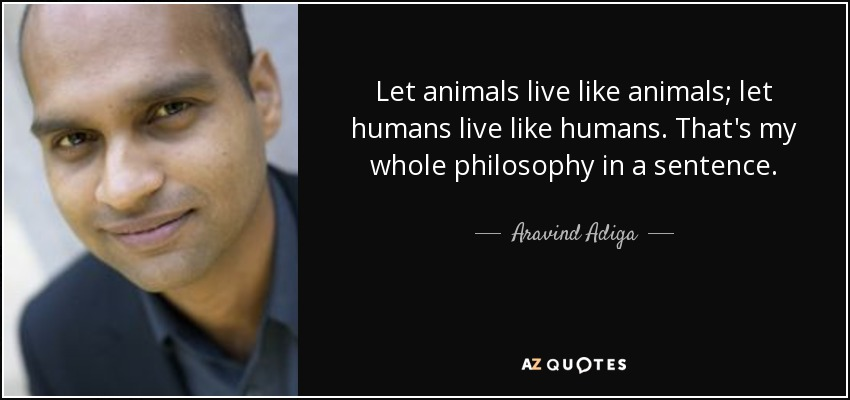 Let animals live like animals; let humans live like humans. That's my whole philosophy in a sentence. - Aravind Adiga