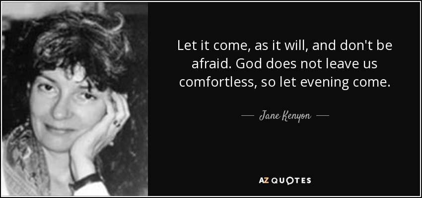 Let it come, as it will, and don't be afraid. God does not leave us comfortless, so let evening come. - Jane Kenyon