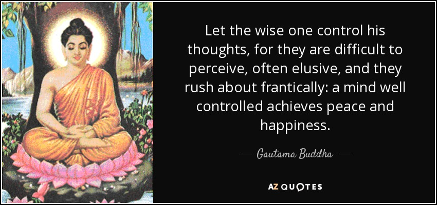 Let the wise one control his thoughts, for they are difficult to perceive, often elusive, and they rush about frantically: a mind well controlled achieves peace and happiness. - Gautama Buddha