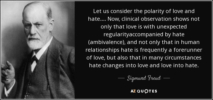 Sigmund Freud Quote Let Us Consider The Polarity Of Love And Hate