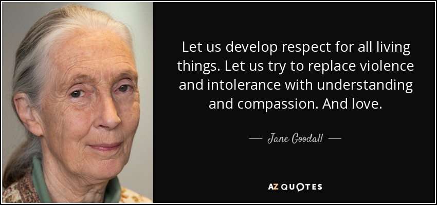 Let us develop respect for all living things. Let us try to replace violence and intolerance with understanding and compassion. And love. - Jane Goodall