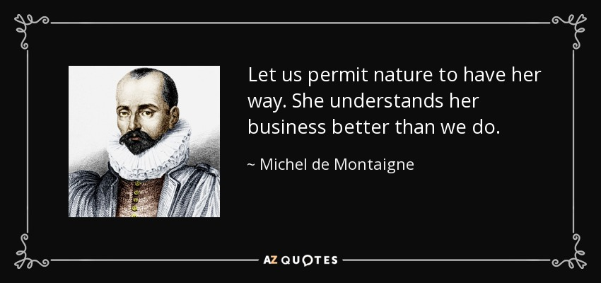 Let us permit nature to have her way. She understands her business better than we do. - Michel de Montaigne