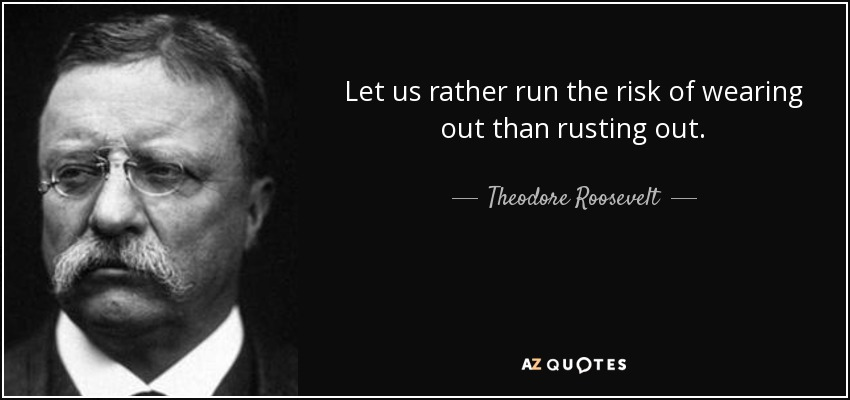 Let us rather run the risk of wearing out than rusting out. - Theodore Roosevelt
