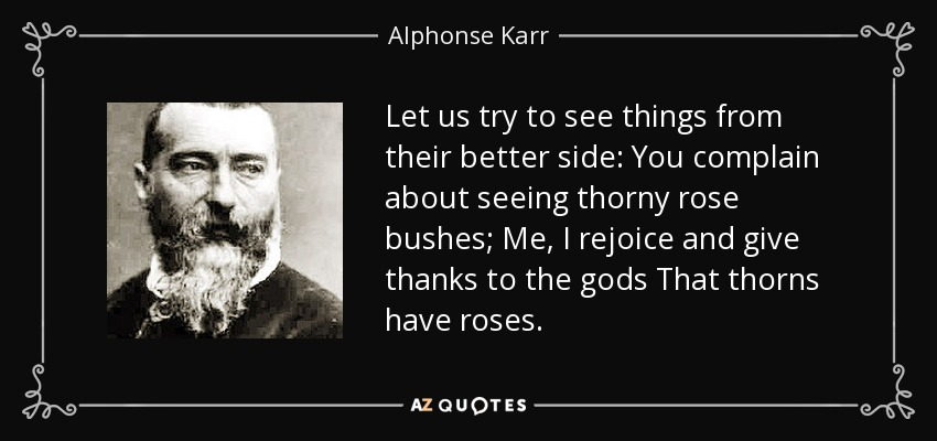Let us try to see things from their better side: You complain about seeing thorny rose bushes; Me, I rejoice and give thanks to the gods That thorns have roses. - Alphonse Karr