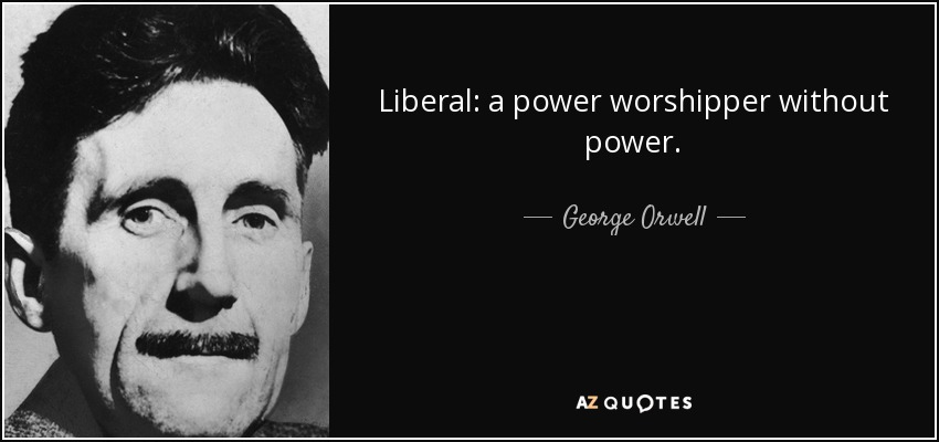 Liberal: a power worshipper without power. - George Orwell