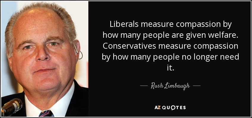 Liberals measure compassion by how many people are given welfare. Conservatives measure compassion by how many people no longer need it. - Rush Limbaugh