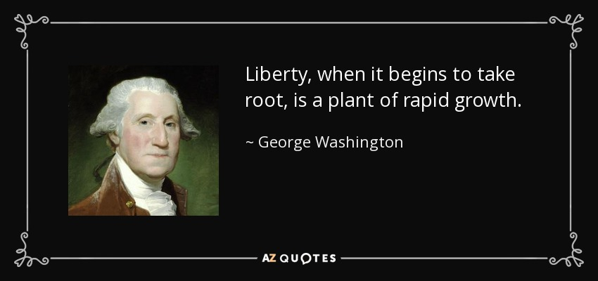 Liberty, when it begins to take root, is a plant of rapid growth. - George Washington