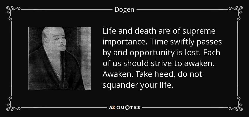 Life and death are of supreme importance. Time swiftly passes by and opportunity is lost. Each of us should strive to awaken. Awaken. Take heed, do not squander your life. - Dogen