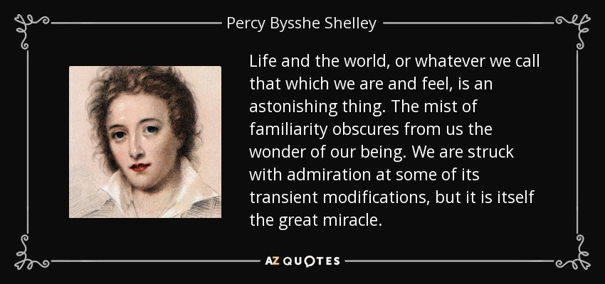 Life and the world, or whatever we call that which we are and feel, is an astonishing thing. The mist of familiarity obscures from us the wonder of our being. We are struck with admiration at some of its transient modifications, but it is itself the great miracle. - Percy Bysshe Shelley