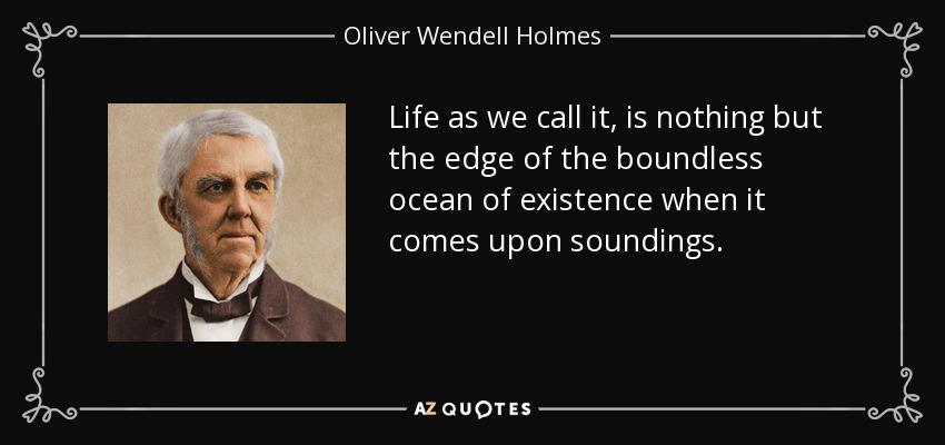 Life as we call it, is nothing but the edge of the boundless ocean of existence when it comes upon soundings. - Oliver Wendell Holmes Sr.
