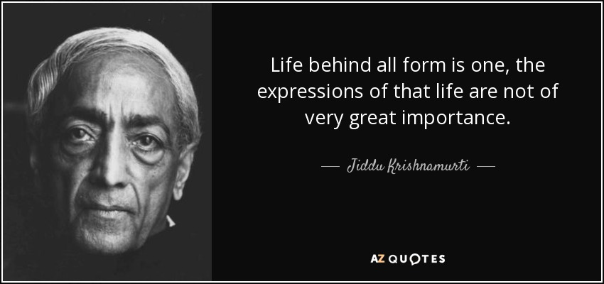 Life behind all form is one, the expressions of that life are not of very great importance. - Jiddu Krishnamurti