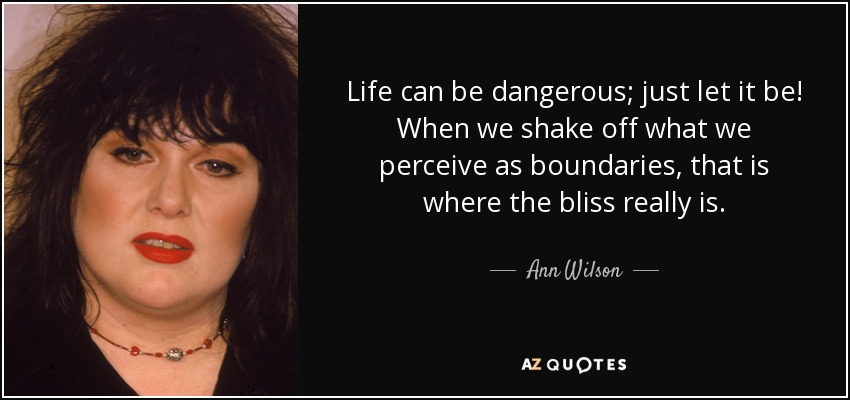 Life can be dangerous; just let it be! When we shake off what we perceive as boundaries, that is where the bliss really is. - Ann Wilson
