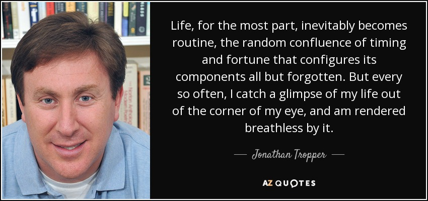 Life, for the most part, inevitably becomes routine, the random confluence of timing and fortune that configures its components all but forgotten. But every so often, I catch a glimpse of my life out of the corner of my eye, and am rendered breathless by it. - Jonathan Tropper