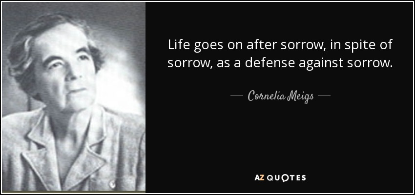 Life goes on after sorrow, in spite of sorrow, as a defense against sorrow. - Cornelia Meigs