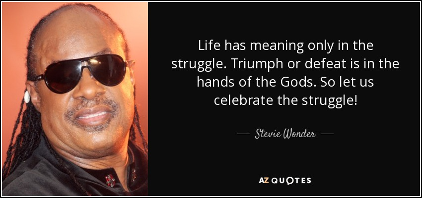 Life has meaning only in the struggle. Triumph or defeat is in the hands of the Gods. So let us celebrate the struggle! - Stevie Wonder