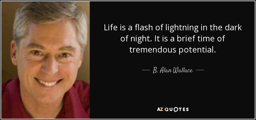 Life is a flash of lightning in the dark of night. It is a brief time of tremendous potential. - B. Alan Wallace