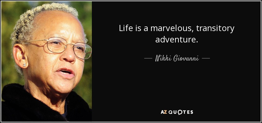 Life is a marvelous, transitory adventure. - Nikki Giovanni