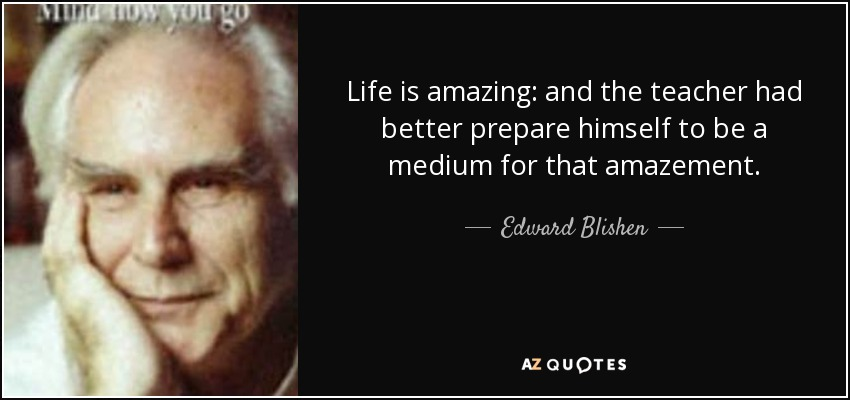 Life is amazing: and the teacher had better prepare himself to be a medium for that amazement. - Edward Blishen