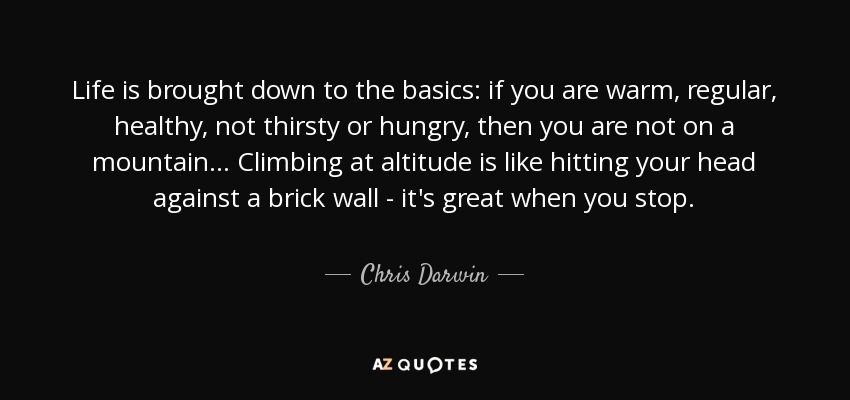 Life is brought down to the basics: if you are warm, regular, healthy, not thirsty or hungry, then you are not on a mountain... Climbing at altitude is like hitting your head against a brick wall - it's great when you stop. - Chris Darwin
