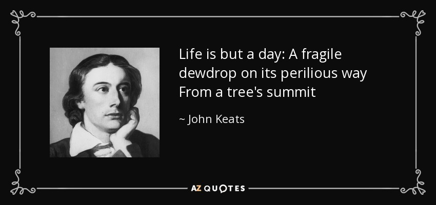 Life is but a day: A fragile dewdrop on its perilious way From a tree's summit - John Keats