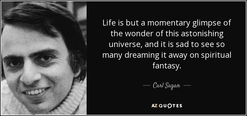 Life is but a momentary glimpse of the wonder of this astonishing universe, and it is sad to see so many dreaming it away on spiritual fantasy. - Carl Sagan
