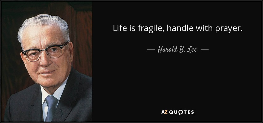 Life is fragile, handle with prayer. - Harold B. Lee