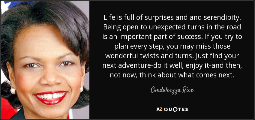 Life is full of surprises and and serendipity. Being open to unexpected turns in the road is an important part of success. If you try to plan every step, you may miss those wonderful twists and turns. Just find your next adventure-do it well, enjoy it-and then, not now, think about what comes next. - Condoleezza Rice