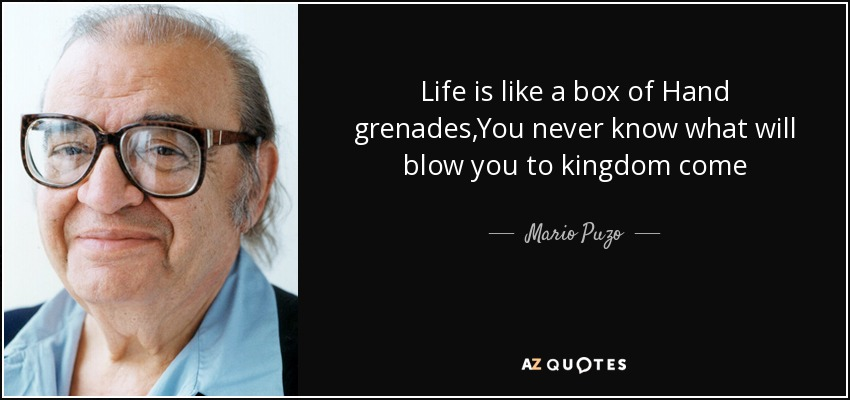 Life is like a box of Hand grenades,You never know what will blow you to kingdom come - Mario Puzo