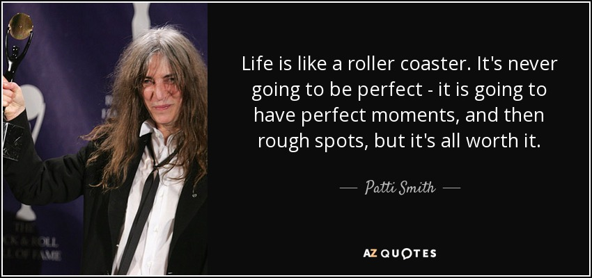 Life is like a roller coaster. It's never going to be perfect - it is going to have perfect moments, and then rough spots, but it's all worth it. - Patti Smith