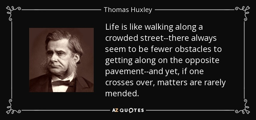 Life is like walking along a crowded street--there always seem to be fewer obstacles to getting along on the opposite pavement--and yet, if one crosses over, matters are rarely mended. - Thomas Huxley