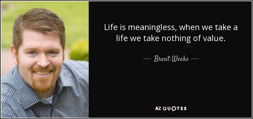 Life is meaningless, when we take a life we take nothing of value. - Brent Weeks