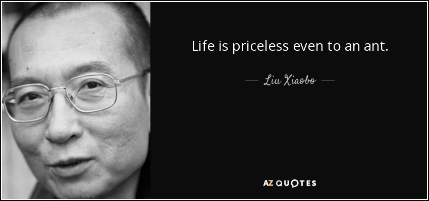 Life is priceless even to an ant. - Liu Xiaobo