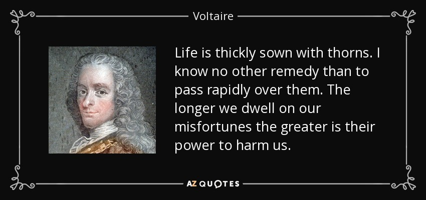 Life is thickly sown with thorns. I know no other remedy than to pass rapidly over them. The longer we dwell on our misfortunes the greater is their power to harm us. - Voltaire
