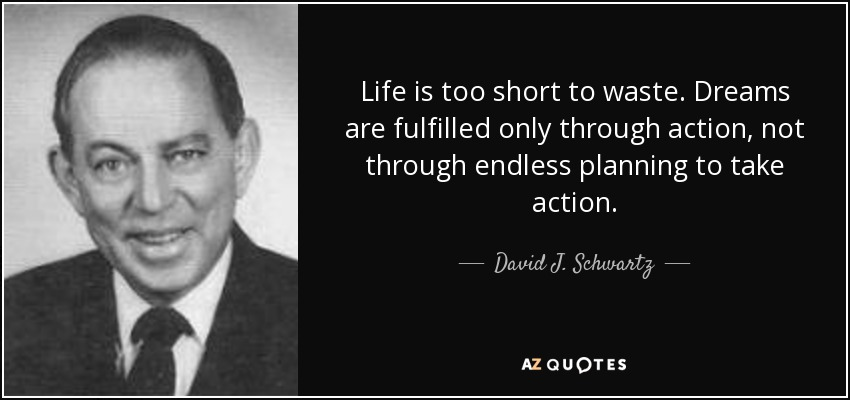 Life is too short to waste. Dreams are fulfilled only through action, not through endless planning to take action. - David J. Schwartz