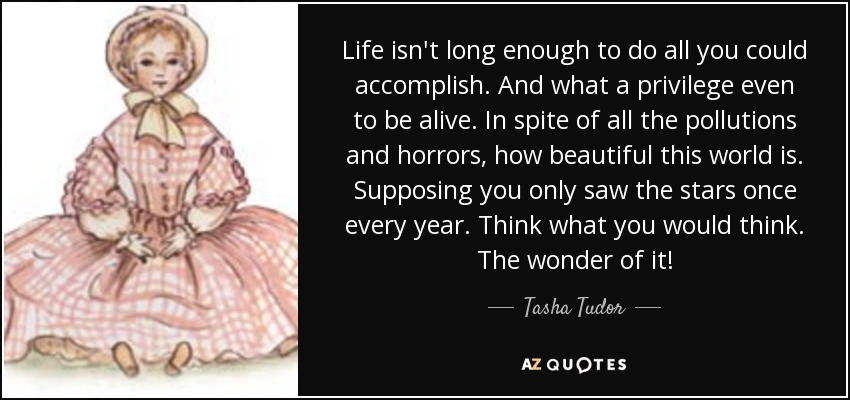 Life isn't long enough to do all you could accomplish. And what a privilege even to be alive. In spite of all the pollutions and horrors, how beautiful this world is. Supposing you only saw the stars once every year. Think what you would think. The wonder of it! - Tasha Tudor