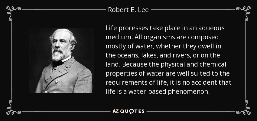 Life processes take place in an aqueous medium. All organisms are composed mostly of water, whether they dwell in the oceans, lakes, and rivers, or on the land. Because the physical and chemical properties of water are well suited to the requirements of life, it is no accident that life is a water-based phenomenon. - Robert E. Lee