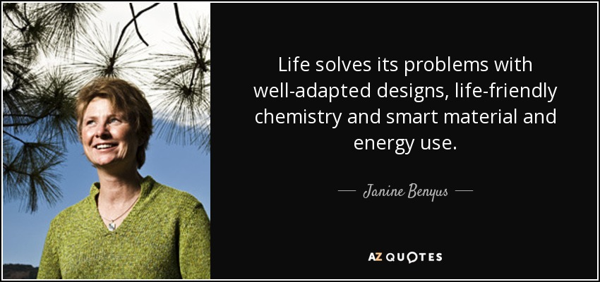 Life solves its problems with well-adapted designs, life-friendly chemistry and smart material and energy use. - Janine Benyus