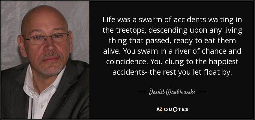 Life was a swarm of accidents waiting in the treetops, descending upon any living thing that passed, ready to eat them alive. You swam in a river of chance and coincidence. You clung to the happiest accidents- the rest you let float by. - David Wroblewski