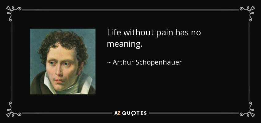 Life without pain has no meaning. - Arthur Schopenhauer