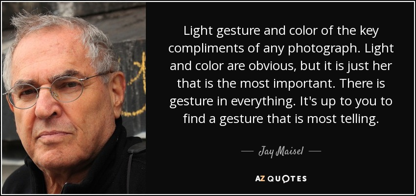 Light gesture and color of the key compliments of any photograph. Light and color are obvious, but it is just her that is the most important. There is gesture in everything. It's up to you to find a gesture that is most telling. - Jay Maisel