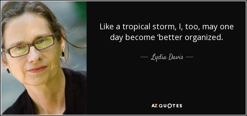 Like a tropical storm, I, too, may one day become 'better organized. - Lydia Davis