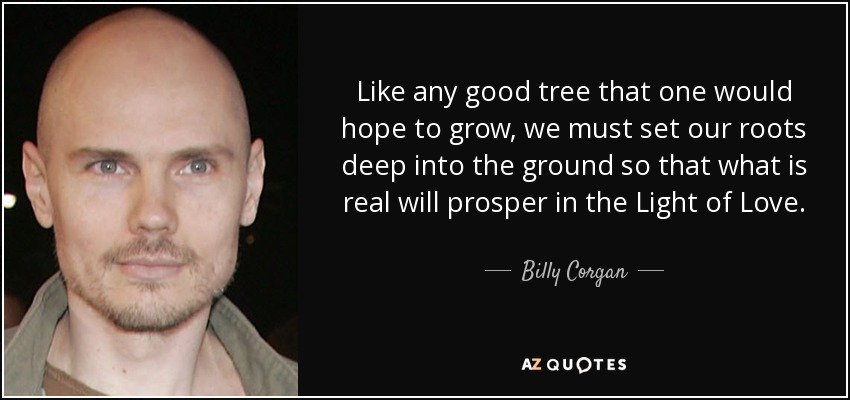 Like any good tree that one would hope to grow, we must set our roots deep into the ground so that what is real will prosper in the Light of Love. - Billy Corgan