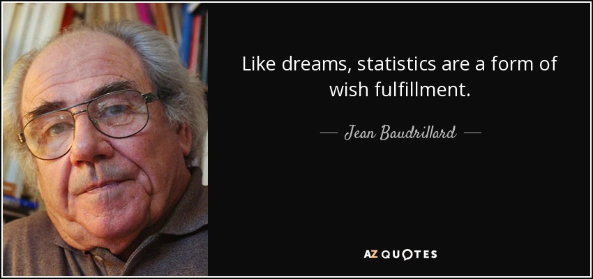 Like dreams, statistics are a form of wish fulfillment. - Jean Baudrillard