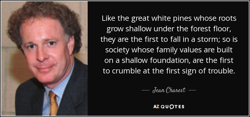 Like the great white pines whose roots grow shallow under the forest floor, they are the first to fall in a storm; so is society whose family values are built on a shallow foundation, are the first to crumble at the first sign of trouble. - Jean Charest