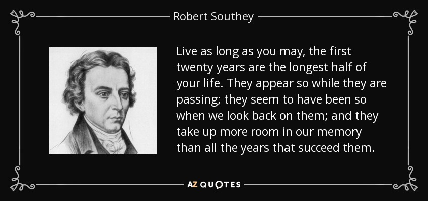 Live as long as you may, the first twenty years are the longest half of your life. They appear so while they are passing; they seem to have been so when we look back on them; and they take up more room in our memory than all the years that succeed them. - Robert Southey